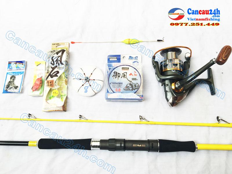 Bộ cần câu máy 2 khúc câu cá tra, câu cá lóc Fuji