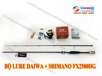 Bộ cần câu lure cá lóc Daiwa 2.1m + máy câu shimano FX2500HG Full Phụ kiện