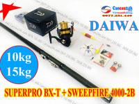 Bộ cần câu lục xa bờ Superpro 420 BXT + máy câu Daiwa Sweepfire 4000-2B