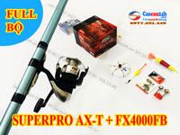 Bộ cần câu lục Superpro AX-T 360-390-420 + Máy Shimano FX4000FB Hãng