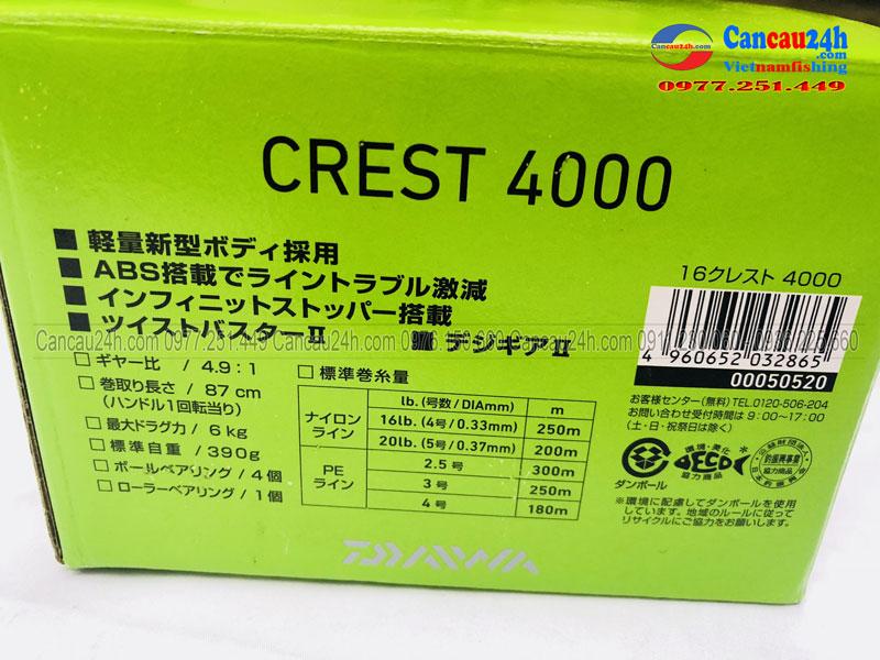 Máy câu cá Daiwa Crest 4000, Chính hãng, Giá rẻ tại Hà Nội