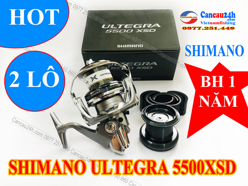 Máy câu cá Shimano ULTEGRA 5500XSD 2 Cối Cước Chính Hãng BH 1 Năm