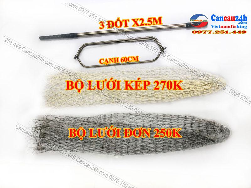 Vợt câu cá vành tam giác cạnh 50Cm-60Cm Lưới vợt dài 1m chất liệu inox