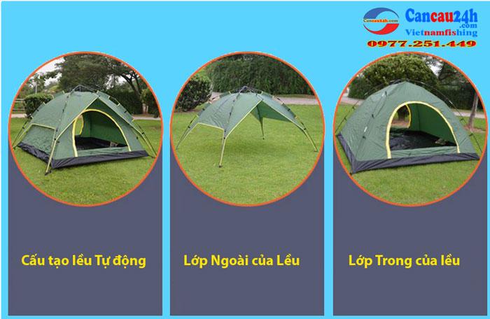 Lều Tự Động 4 người 2 lớp, Lều Tự Bung 4 người